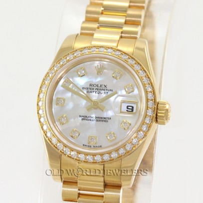Rolex Lady President Datejust 179178 18K Gold MOP Diamond Dial & Bezel