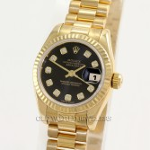 Rolex Lady President Datejust 179178 18K Gold Black Diamond Dial