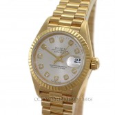 Rolex Lady President Datejust 69178 18K Gold Silver Diamond Dial
