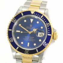 Rolex Submariner 16613 18K Gold Steel Blue Dial Bezel