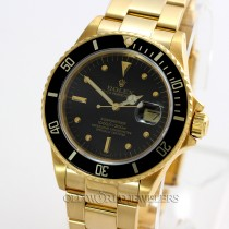 Rolex Submariner Ref 16808 18K Gold Black Nipple Dial