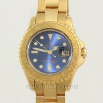 Rolex Lady Yacht Master 69628 18K Yellow Gold Blue Dial