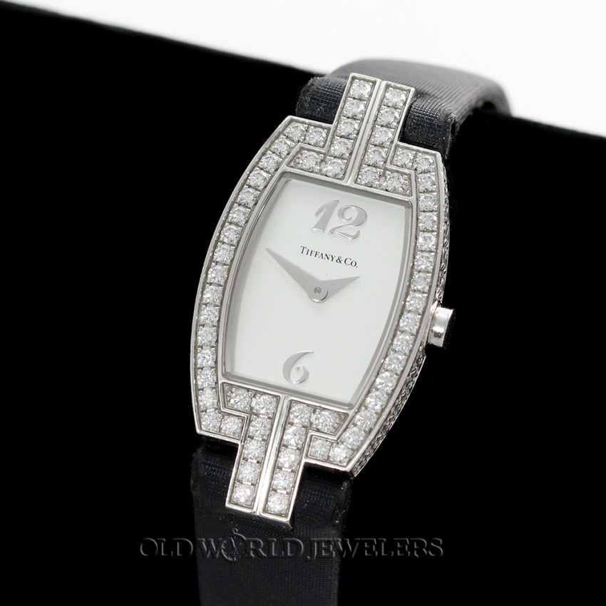 08e56cba11773 Tiffany Lady 1.95cttw Pave Diamond Tonneau Cocktail Watch 18K Gold