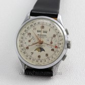 Bucherer Vintage Chronograph Suisse 3 Date Moonphase Steel Silver Dial