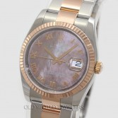 Rolex Datejust 116231 18K Rose Gold Steel Black MOP Dial
